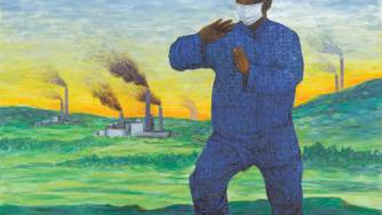 """Choong Kam Kow, """"Blue Sky Alert"""", acrylic on canvas, 122 x 122 cm, 2010"""