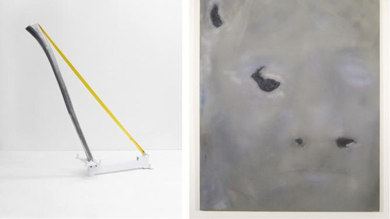 """Tao Kulczycki, Resonance, 2015, aluminum (original dideridoo), engine stand, strap, 60.5 x 53 x 14 in (Right); Ian Swanson, paintings from the """"Aging"""" series, 2014- 2015, airbrushed acrylic, graphite on rayon, 62 x 46 in (Left)"""