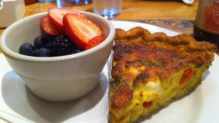 Quiche and a fruit bowl from Honeypie Café