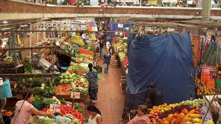 A lively and local produce and souvenir market in Guadalajara, Mexico