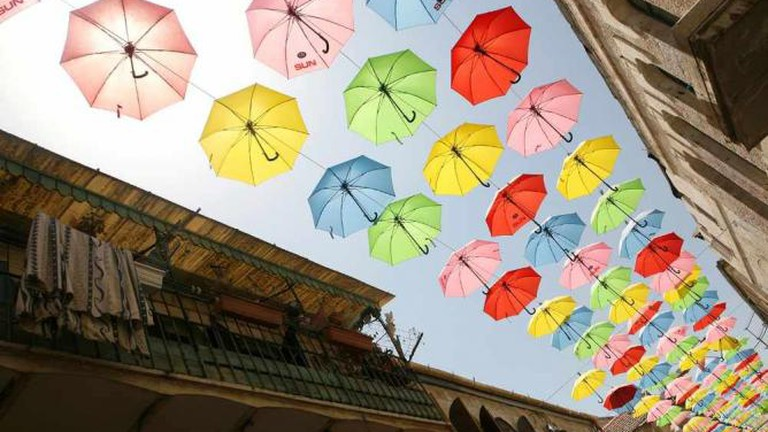 Umbrellas Decorating Yoel Solomon St., Nahalat Shiv'a