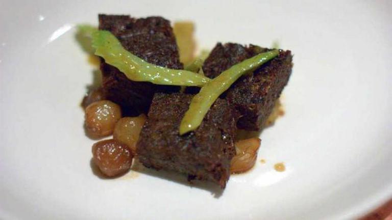 zahav beef cheeks, potatoes, caramelized onions, paprika, celery