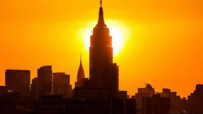 Sunrise behind the Empire State Building in New York City