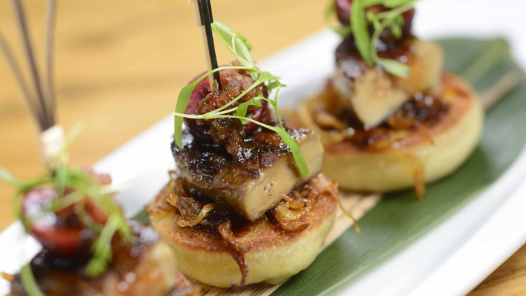 """Foie Gras with Pickled Cherry on Homemade """"Bao"""" Toast"""