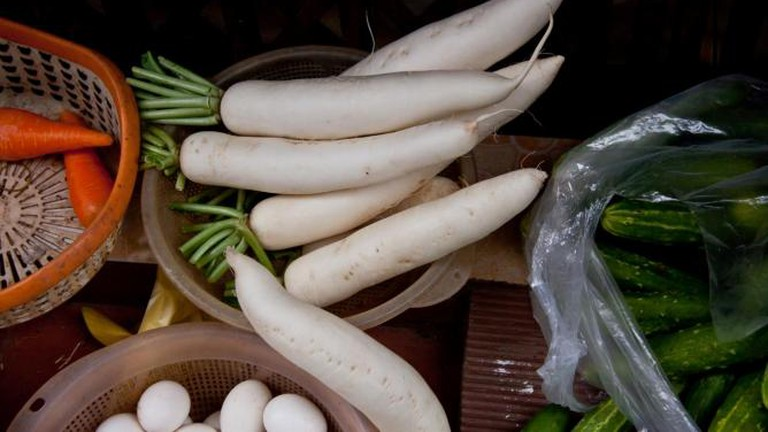 Daikon and other vegetables for sale, Vietnam