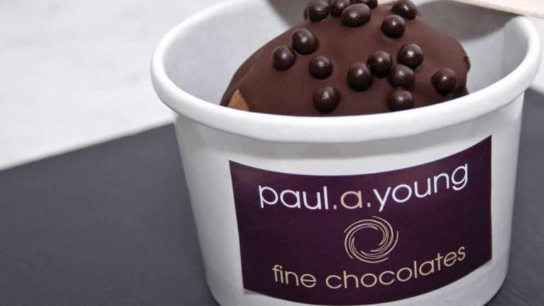 Paul A Young's sea-salted caramel ice cream topped with 70% dark chocolate and solid chocolate pearls