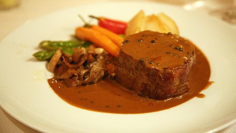 Steak flambé at Le Champlain, Québec