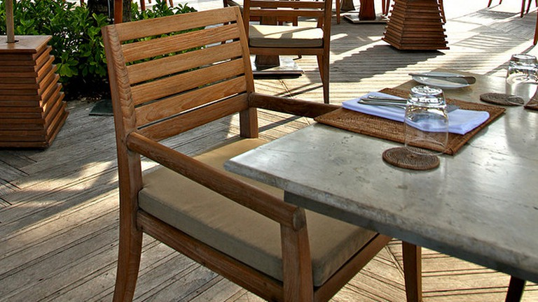 lunch on the terrace patio : trisara resort, thailand (2009)