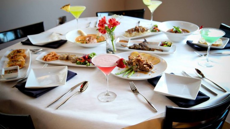 Food and cocktails at Q Restaurant