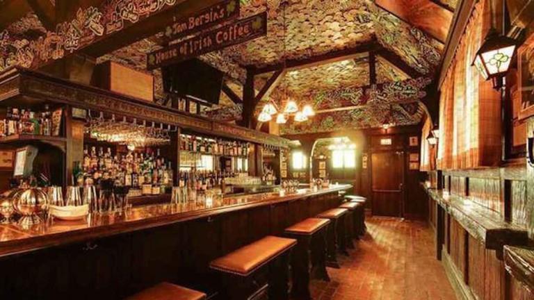 The wooden interior at Tom Bergin's