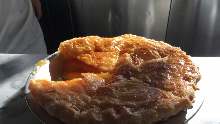 Fentons' pie on marble counter