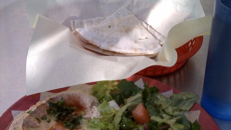 Falafel, hummus, and salad plate, Wally's Café
