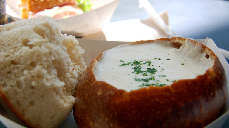 Boudin's clam chowder in a bread bowl