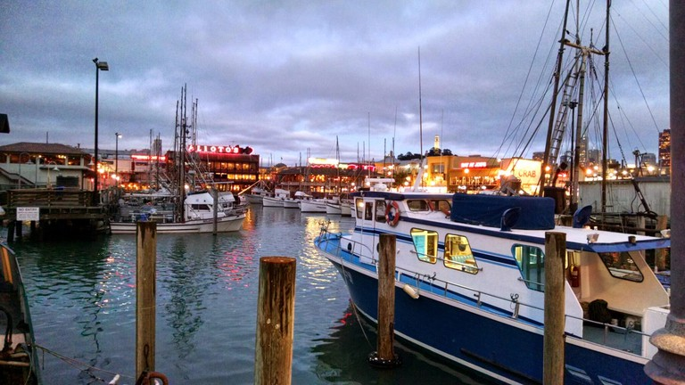 The boat harbor with Alioto's in the distance
