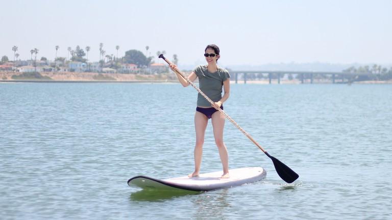 Enjoying the sunshine paddleboard style