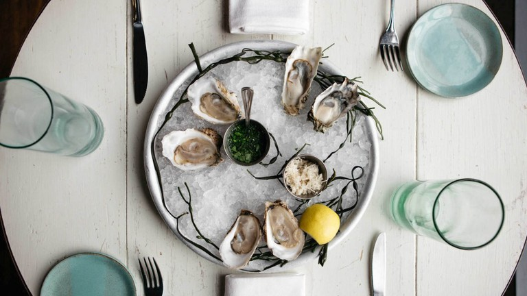 Fresh oysters at The Eatery at Beshoffs