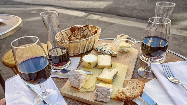 Wine, cheese, and bread
