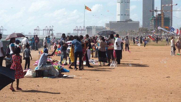 In dry season the galle face green has less grass
