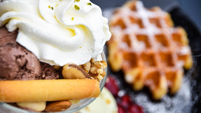 Ice cream and waffle