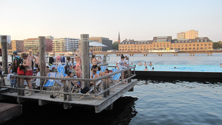 Badeschiff Berlin is a swimming pool in the Spree
