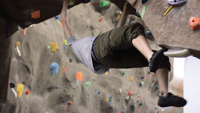 Advanced indoor rock climbing