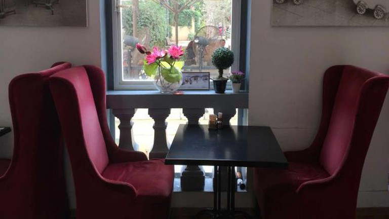 Velvet Chairs at Cafe Cafe Suzanne Della
