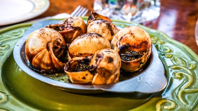 Escargots de Bourgogne at Chez Papa French Bistro and Wine Bar
