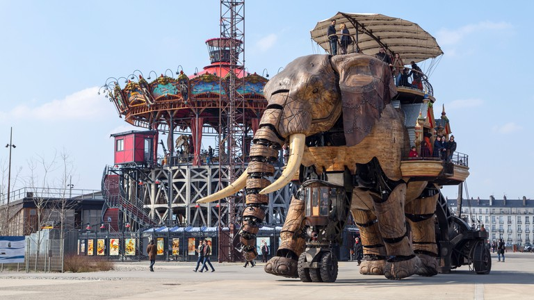 The Great Elephant carries passengers around the old shipyards of Nantes, France.