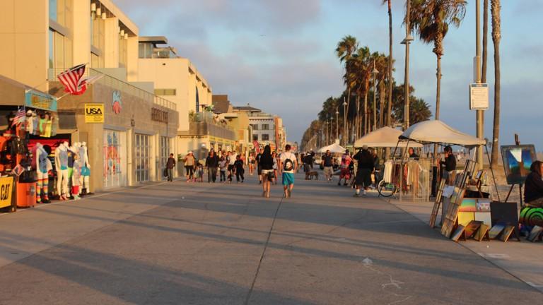 Venice beach boardwalk in Los Angeles.