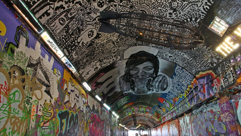 Leake Street Tunnel was made famous by Banksy