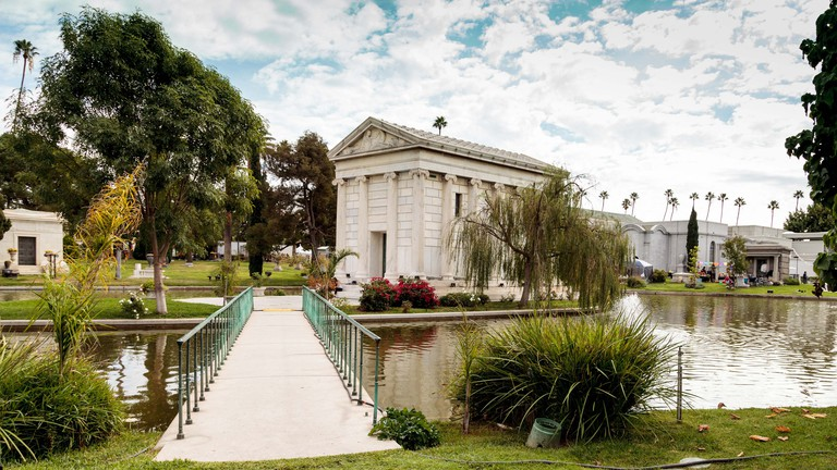 Grounds of the Hollywood Forever Cemeteray during Dia de los Muertos, Day of the dead, in Los Angeles.