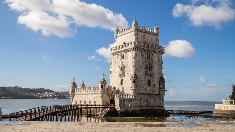 Belem Tower on the Tagus River, Lisbon, Portugal.