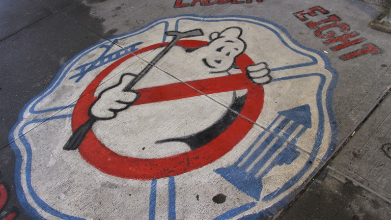 Ghostbusters' street art outside Hook & Ladder Company 8 firehouse in Tribeca, New York.