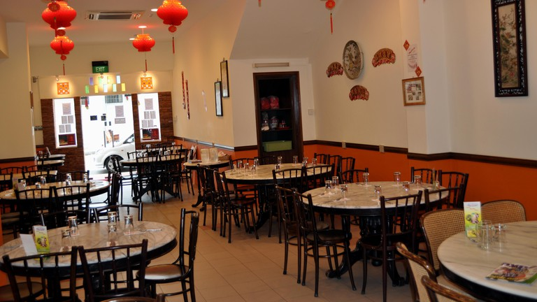 The interior of Guan Hoe Soon Restaurant in Singapore