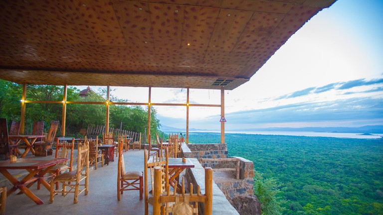 The restaurant overlooks the forest separating Lake Abaya and Lake Chamo