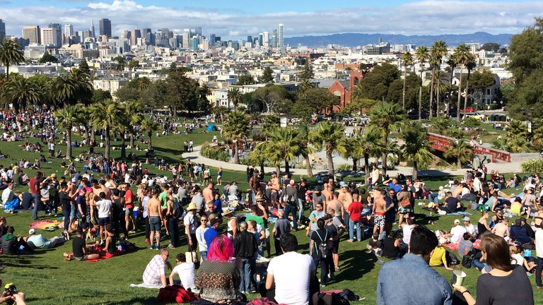 Dolores Park with Downtown SF view