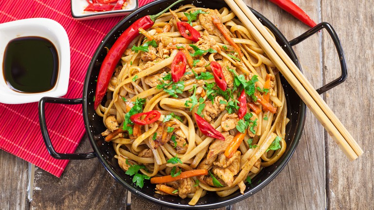 Chicken chow mein a popular dish with noodles and vegetables