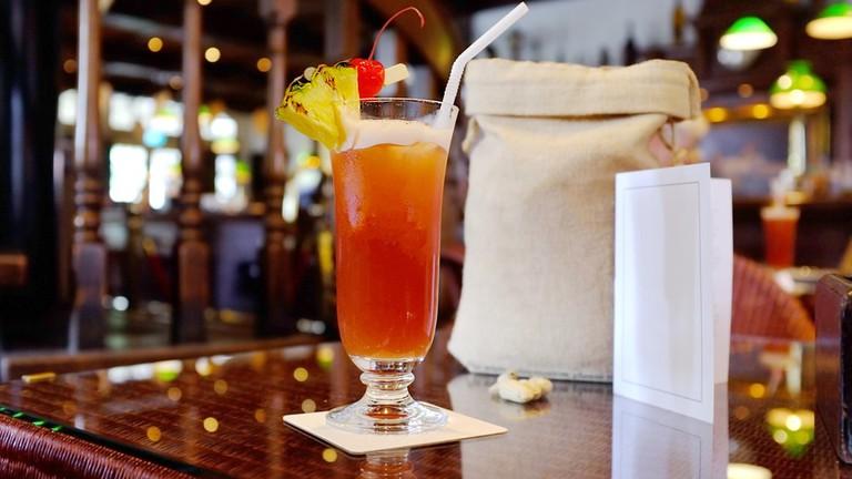 The Singapore Sling cocktail at Long Bar, Raffles Hotel