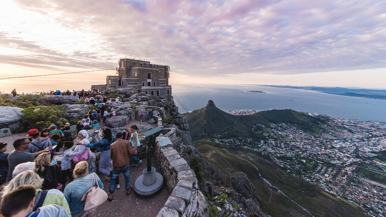 Top of Table Mountain at sunset