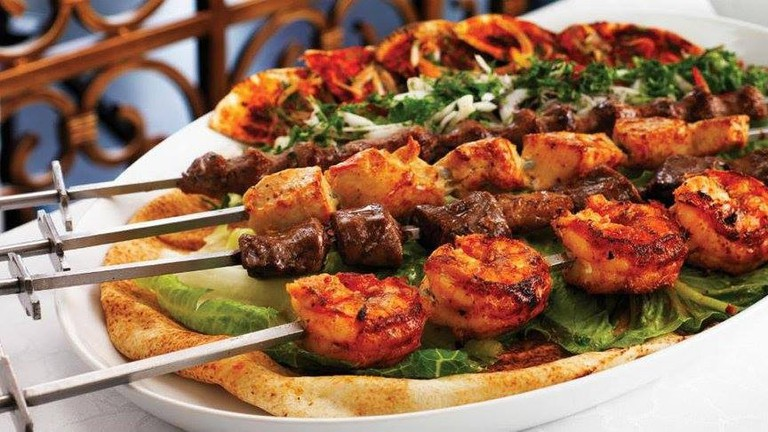 Skewered and grilled meat and seafood at Zaituna Restaurant