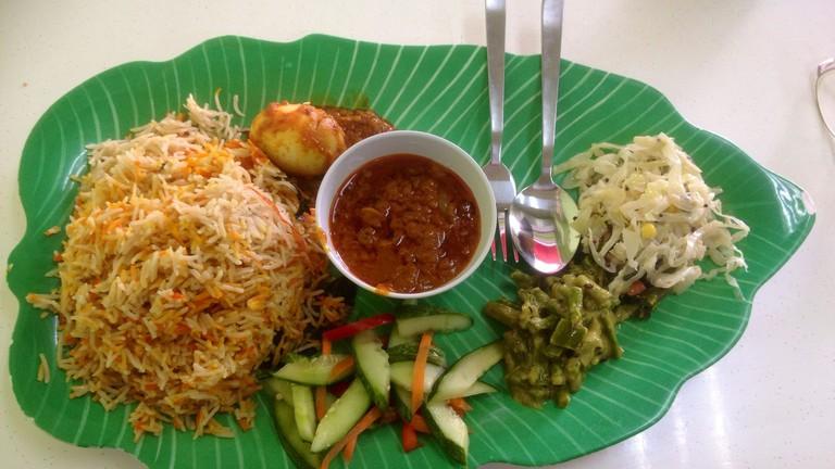 Nasi Biryani with boiled egg and vegetables