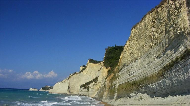 cliffs of Logas Beach, Corfu