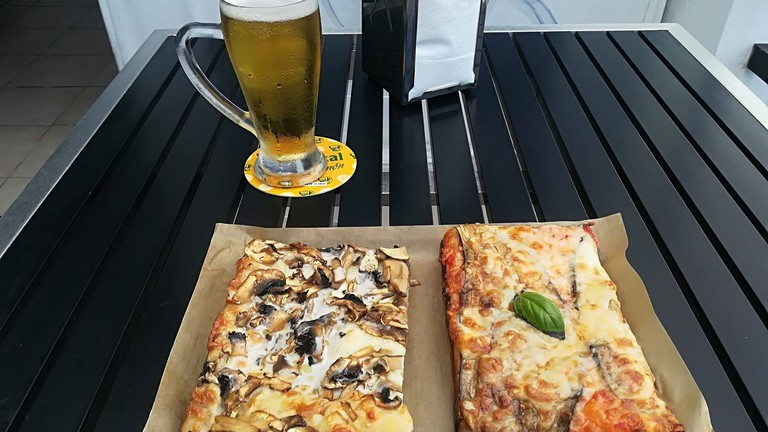 Pizza and a beer