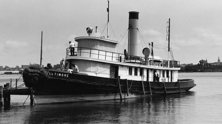 Baltimore Steam Tug, Historic Ships, Baltimore, Maryland, Black and White