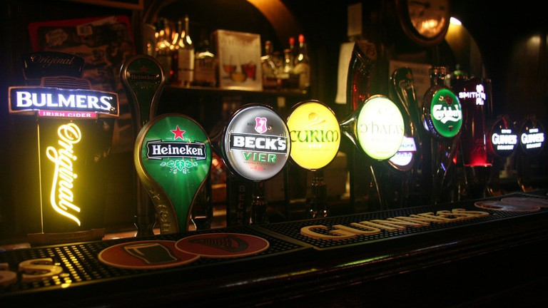 Beer taps in an Irish bar