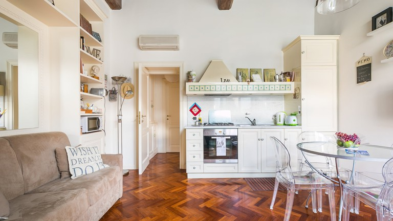 The comfortable kitchen and living space