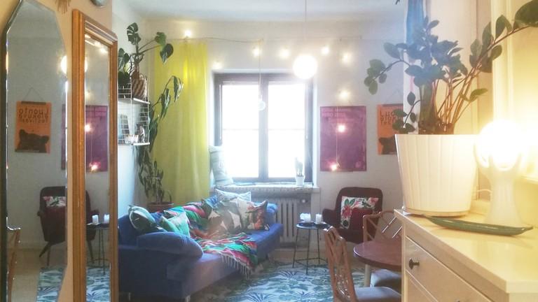 A homey top-floor studio apartment in Töölö, Helsinki.