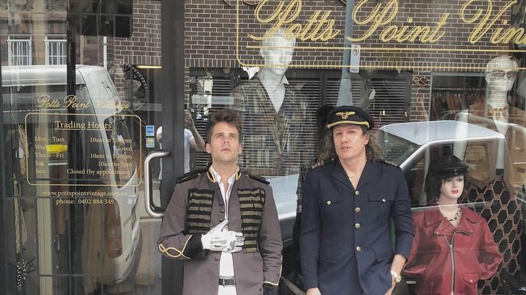 Owner Arnold Kielgaard (right) with musician Kyle Bielfield © Potts Point Vintage