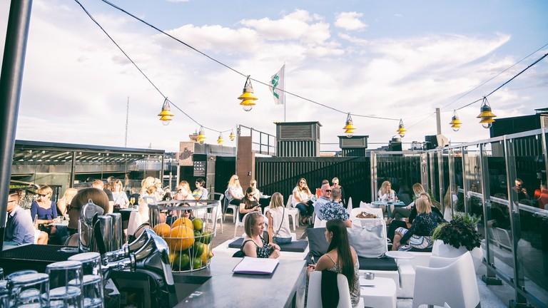 Roof summer terrace in Helsinki.