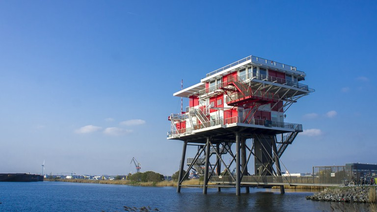REM Eiland is an artificial offshore island in Amsterdam's harbour district that houses a restaurant